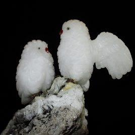 Schnee-Eulen aus Schneequarz
