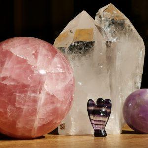 Rosenquarz, Bergkristall, Fluorit