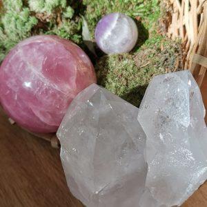 Rosenquarz, Bergkristall, Amethyst