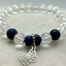Armband mit Bergkristall und Lapis Lazuli